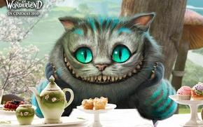 Обои Alice in Wonderland, Посуда, Алиса в стране чудес, Фарфор, Чеширский кот, Улыбка, Глаза