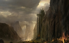 Картинка горы, огни, колос, армия, статуя, пещера, guild wars 2