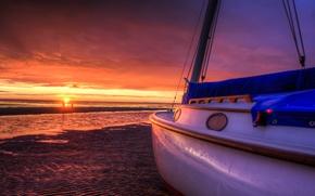 Картинка море, пляж, небо, солнце, облака, пейзаж, закат, природа, лодки