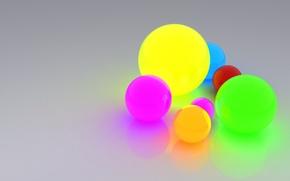 Обои свет, отражение, шары, ярко