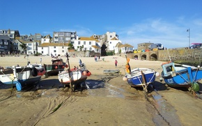 Картинка Beach, England, Cornwall, St Ives, Fishing Harbour