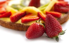 Картинка еда, клубника, пирог, cake, десерт, food, сладкое, sweet, 1920x1080, strawberry, dessert