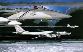 Картинка рисунок, масло, Картина, f-15, ту-95МС, eagle