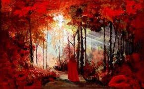 Картинка лес, девушка, цветы, листва, плащ