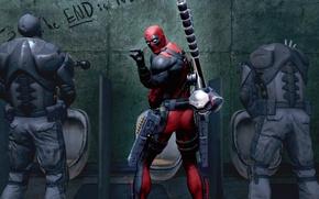 Картинка оружие, Marvel, Дэдпул, Wade Wilson, Deadpool: The Game, toilet, антигерой