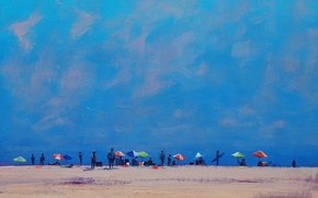 Обои арт, рисунок, artsaus, beach croud