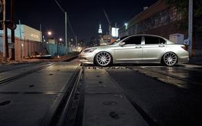 Картинка машина, авто, ночь, город, рельсы, Honda, Accord, auto, Grey, бок, Matte, Sedan, Face, Wheels, Concavo, …