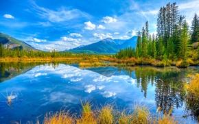 Картинка осень, небо, деревья, горы, озеро, Канада, Альберта, Banff National Park, minnewanka lake