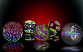 Картинка отражение, фон, шары, разноцветные