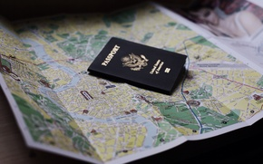 Обои документ, паспорт, карта