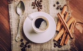 Картинка кофе, ложка, чашка, напиток, корица, кофейные зёрна, блюдце, салфетка