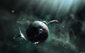 Обои космические, планеты, корабли, пространство, галактика, космическое