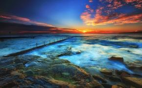 Обои море, камни, облака, закат