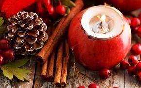 Картинка листья, ягоды, праздник, красное, яблоко, свеча, палочки, Новый Год, Рождество, декорации, корица, шишка, Christmas, New …