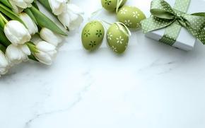 Картинка подарок, Пасха, тюльпаны, белые, gift, Easter, Tulips, Eggs
