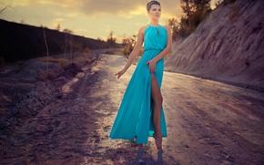 Обои дорога, танец, Кристина, платье