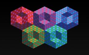 Картинка цвет, олимпиада, кубик, куб, объем, ромб