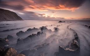 Картинка пляж, небо, облака, закат, камни, скалы, весна, вечер, выдержка, Испания, Март, Баррика