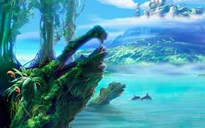 Обои вода, рисунок, дельфины