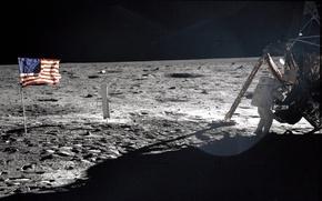 Картинка космонавт, Луна, moon, астронавт, высадка, apollo