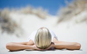 Обои девушка, настроение, природа, солнце, Relax, пляж