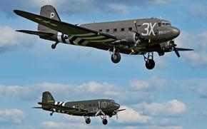 Картинка американский, военно-транспортный самолёт, «Дакота», Дуглас C-47