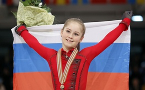 Картинка улыбка, победа, букет, флаг, медаль, РОССИЯ, Юлия Липницкая, фигуристка, чемпионка
