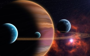 Картинка небо, звезды, лучи, планета, спутник, кольца