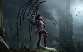 Картинка город, крылья, StarCraft II, зерги, Sarah Kerrigan, Сара Керриган, Королева Клинков, Queen of Blades