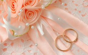 Картинка макро, цветы, бант, свадьба, обручальные кольца