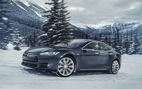 Картинка Tesla, Model S, электрокар, P85D, 250км/ч