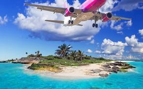Картинка море, пляж, тропики, Самолет, beach, sea, tropics, летящий над островом, The plane, flying over the …