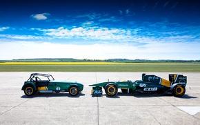 Картинка авто, небо, пейзаж, обои, спорт, Lotus, формула 1, wallpaper, болид, лотус