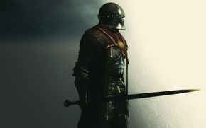 Обои рендеринг, фон, меч, доспехи, воин