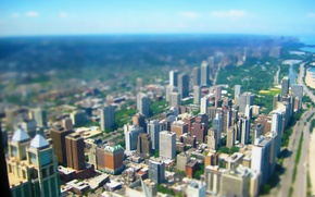 Картинка перспектива, небоскребы, мегаполис, тилт шифт, Tilt shift
