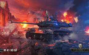 Картинка ночь, город, огонь, дым, развалины, танк, немецкий, World of Tanks, лёгкий, M 41 90 GF, ...