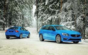 Картинка зима, снег, Volvo, вольво, S60, 2015