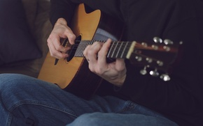 Картинка музыка, гитара, струны, руки, пальцы