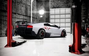 Картинка белый, Lamborghini, бокс, white, ламборджини, Murcielago, LP670-4, ламборгини, подъёмник, мурселаго