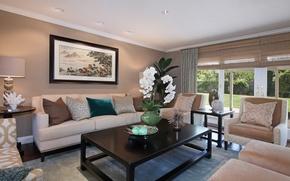 Картинка цветы, дизайн, стиль, мебель, картина, design, style, орхидея, flowers, гостиная, painting, living room, Orchid, furniture
