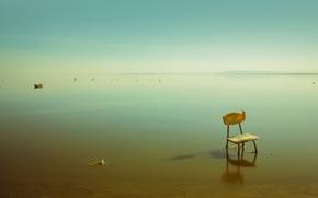 Картинка море, стул, мель