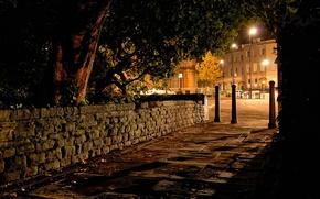 Картинка ночь, город, фото, улица, фонари, Великобритания, тротуар, Clifton Bristol