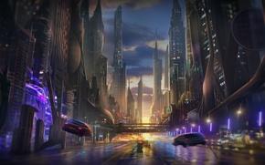 Картинка небоскребы, мегаполис, арт, дорога, машины, город, вечер, будущее, фантастика, закат