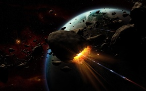 Обои планета, взрыв, астероиды
