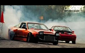 Картинка красный, тюнинг, дым, nissan, дрифт, 200sx, 240sx, 180sx, Nissan 240sx