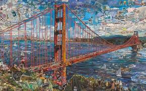 Картинка Golden Gate Bridge, Vik Muniz, Postcards from Nowhere, contemporary art