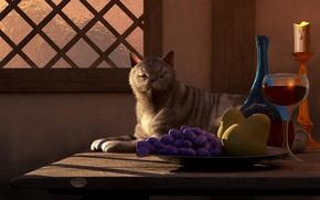 Картинка кошка, кот, стол, вино, бокал, свеча, чаша, окно, арт, виноград, фрукты, груши, deskridge