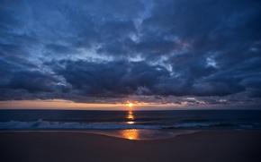 Картинка море, пляж, небо, облака, закат, романтика, берег