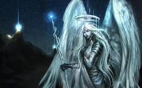 Обои гора, NazNemati, свет, ангел, angel, девушка, ночь, посох
