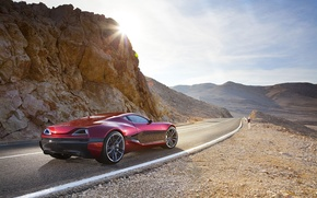 Картинка дорога, скала, Солнце, суперкар, Concept One, Rimac
